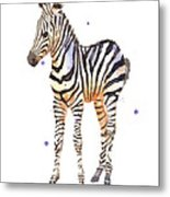 Baby Zebra Nursery Animal Art Metal Print