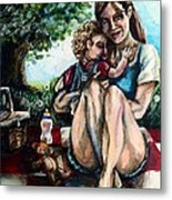 Baby's First Picnic Metal Print
