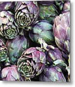 Background Of Artichokes Metal Print by Jane Rix