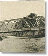 Bailey Bridge Over Willowemoc River Metal Print