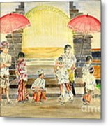 Balinese Children In Traditional Clothing Metal Print
