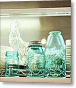Ball Jars And White Rooster Metal Print