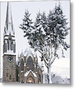 Ballater Church In Snow Metal Print