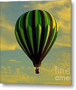 Balloon Ride Through Gold Clouds Metal Print