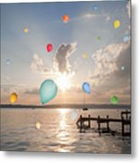 Balloons Floating Over Still Lake Metal Print