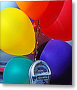 Balloons Tied To Parking Meter Metal Print