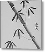 Bamboo Art In Black And White Metal Print