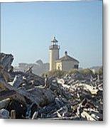 Bandon Oregon Lighthouse Art Prints Driftwood Metal Print by Baslee Troutman