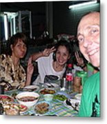 Bangkok Sidewalk Dinner With Spicy Friends Metal Print by Gregory Smith