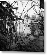 barbed wire across no mans land and restricted area of the UN buffer zone in the green line Metal Print