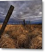 Barbed Wire Fence Posts With Dark Sky Metal Print