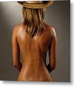 Bare Back Of A Suntanned Woman In A Straw Hat Metal Print