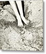 Barefoot In The Sand Metal Print