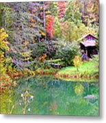 Barn And Pond In The Fall Metal Print