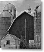 Barn And Silos In Black And White Metal Print