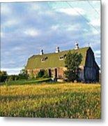 Barn In A Golden Field Metal Print