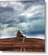 Barn In Lightning Storm Metal Print