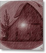 Barn Snow Globe Metal Print