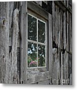 Barn Window Reflection Metal Print