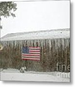 Barn With American Flag During Blizzard Of '05 On Cape Cod Metal Print