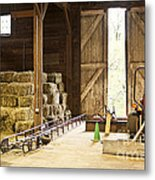 Barn With Hay Bales And Farm Equipment Metal Print by Elena Elisseeva
