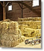 Barn With Hay Bales Metal Print