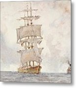 Barque And Tug Metal Print