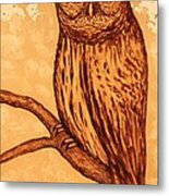 Barred Owl Coffee Painting Metal Print