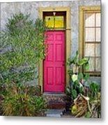 Barrio Door Pink And Gray Metal Print