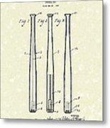 Baseball Bat 1924 Patent Art Metal Print by Prior Art Design