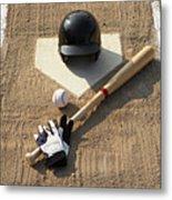 Baseball, Bat, Batting Gloves And Baseball Helmet At Home Plate Metal Print by Thomas Northcut