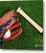 Baseball Glove Bat And Ball On Grass Metal Print