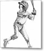 Baseball Kid Metal Print