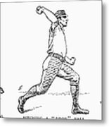 Baseball Pitching, 1889 Metal Print