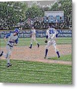 Baseball Runner Heading Home Digital Art Metal Print