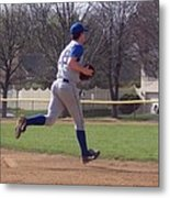 Baseball Step And Throw From Third Base Metal Print