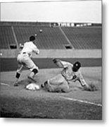 Baseball. Ty Cobb Safe At Third Metal Print by Everett