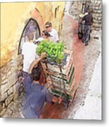 Basil Delivery In Eze France Metal Print
