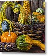 Basket Full Of Gourds Metal Print