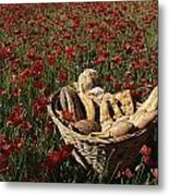 Basket Of Bread In A Poppy Field Metal Print