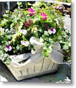 Basket Of Ivy And Flowers In The Sunshine Metal Print