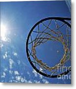 Basketball Hoop And The Sun Metal Print