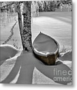 Bath And Snowy Rowboat Metal Print