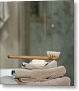 Bath Brush On Stacked Towels Metal Print