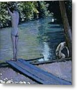 Bather About To Plunge Into The River Yerres Metal Print