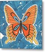Batik Butterfly Metal Print