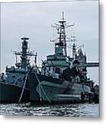 Battleship At Tower Bridge Metal Print