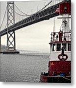 Bay Bridge And Fireboat In The Rain Metal Print