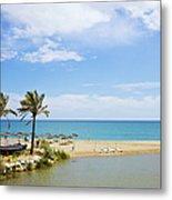 Beach And Sea On Costa Del Sol Metal Print