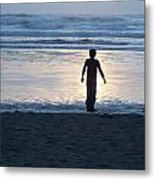 Beach Boy Silhouette Metal Print
